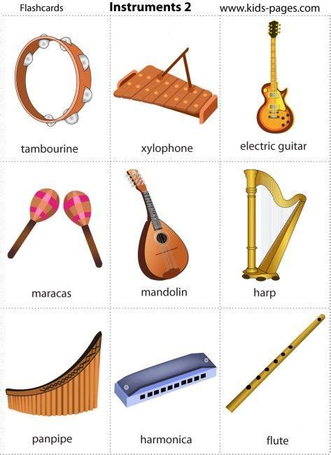 Kids Pages - FREE Printable Music Instruments Flash Cards