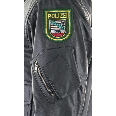 New German Military - issue Police Leather Jacket, Black
