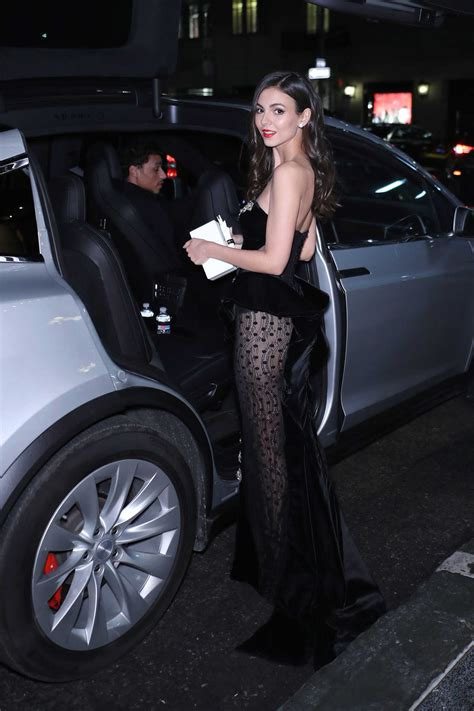 Victoria Justice in a Black See-Through Dress Leaves the