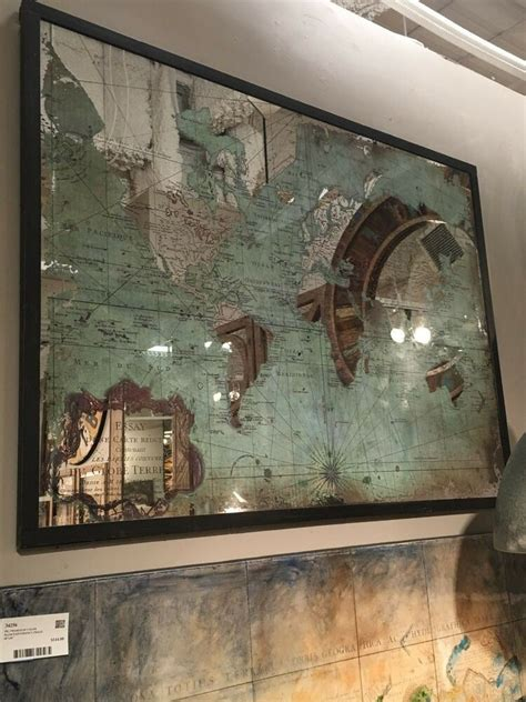 """LARGE VIBRANT COLOR 44"""" PRINTED ON MIRROR WORLD MAP WALL"""