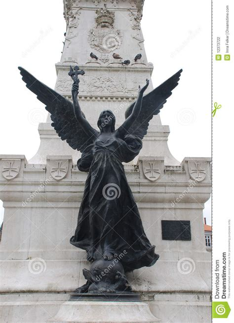 Statue Of Angel With Cross(Portugal) Stock Photography