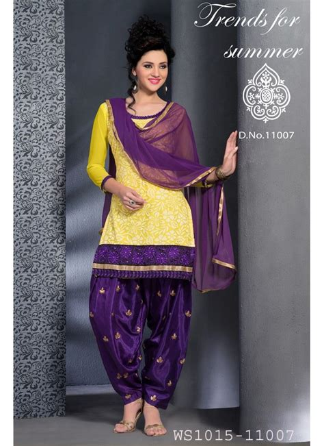 New Fashion Yellow And Purple Patiala Salwar Suit   Indian